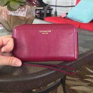 Coach Raspberry Leather Card Wristlet Wallet